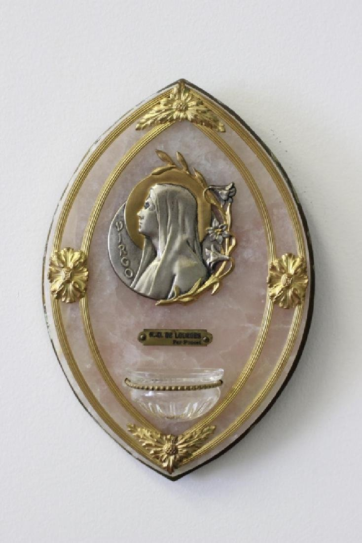Rare Bronze, Rose & Quartz Holy Water Plaque