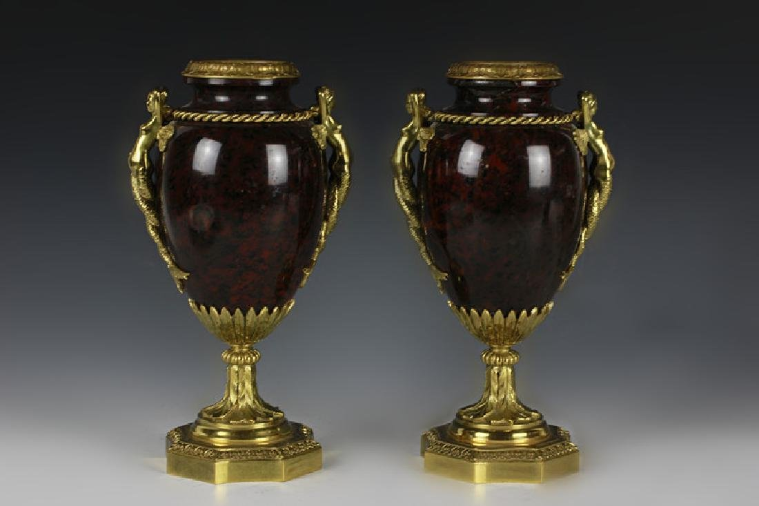 Pair Of Gilded Bronze & Marble Vases