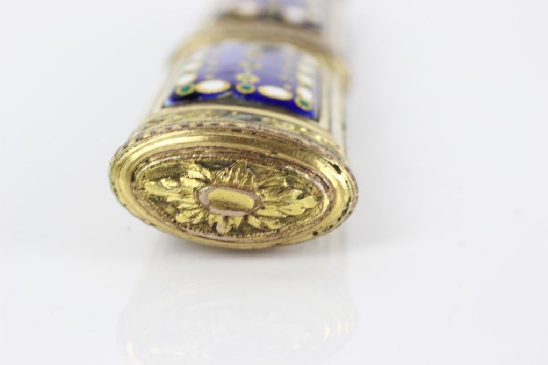 18thc French Enameled Etui. Probably 10k Gold - 7