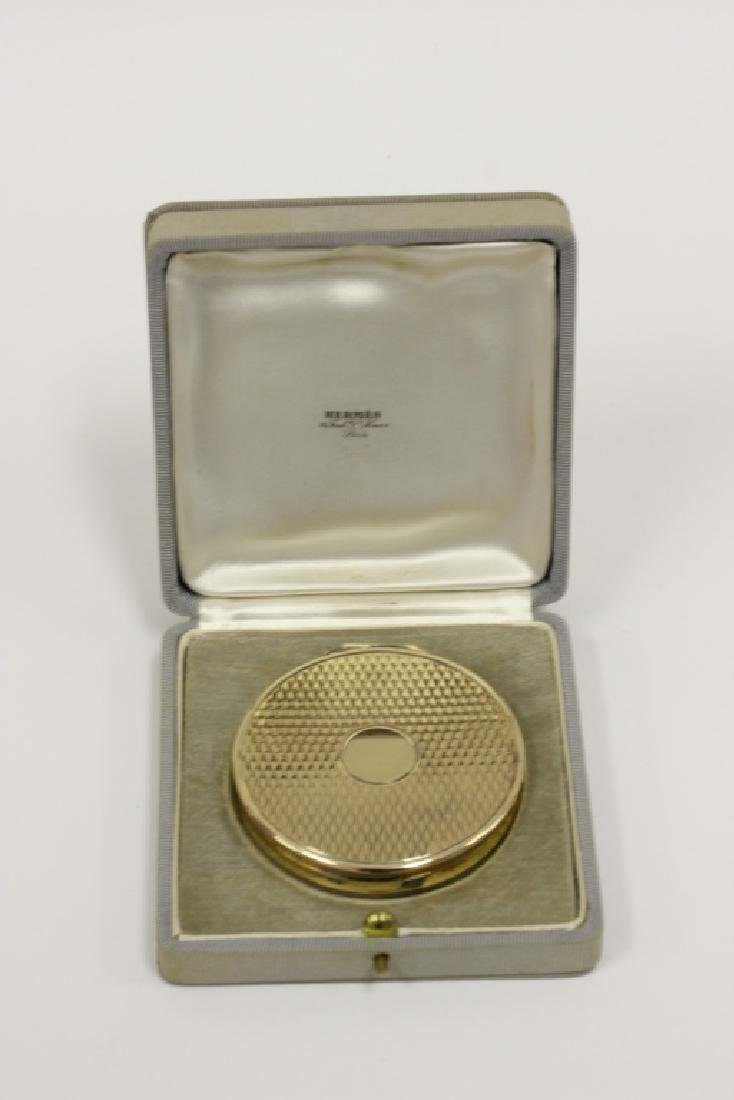 Hermes Art Deco Sterling Silver & Gilt Compact