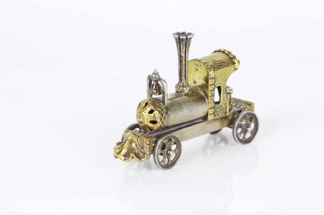 Judaica Sterling Silver Hand Made Miniature Train - 2