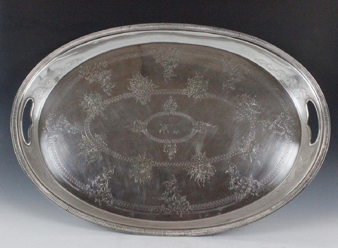 Large Old Silver Plate Tray