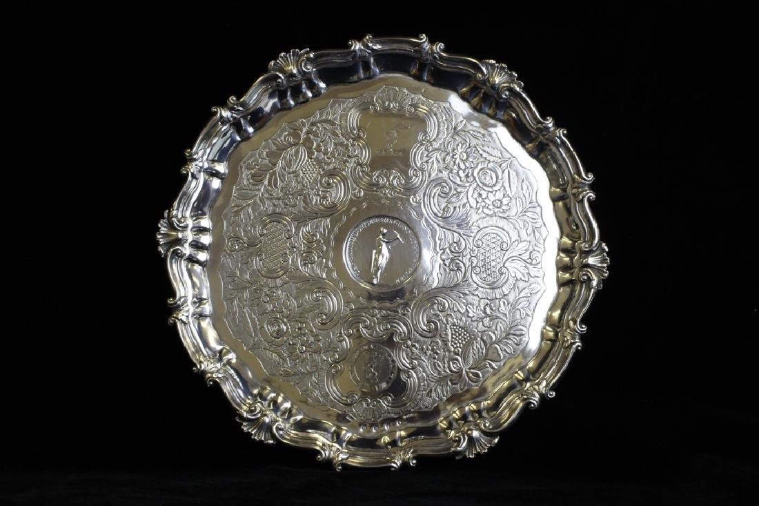 18thc Irish Sterling Silver Salver By Finlay