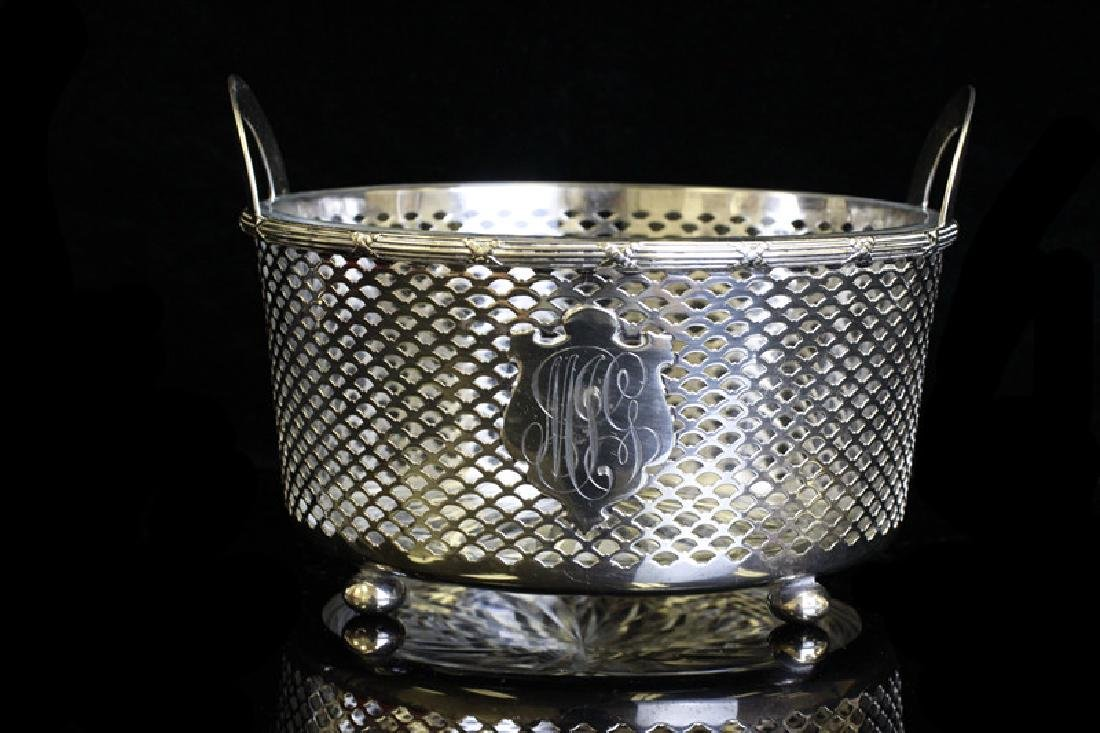 Sterling Silver & Glass Footed Bowl