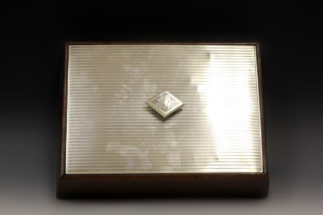 Art Deco Sterling Silver & Wood Humidor