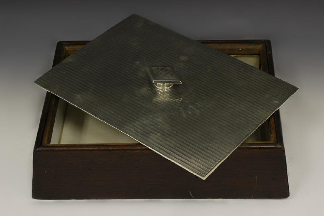 Art Deco Sterling Silver & Wood Humidor - 5