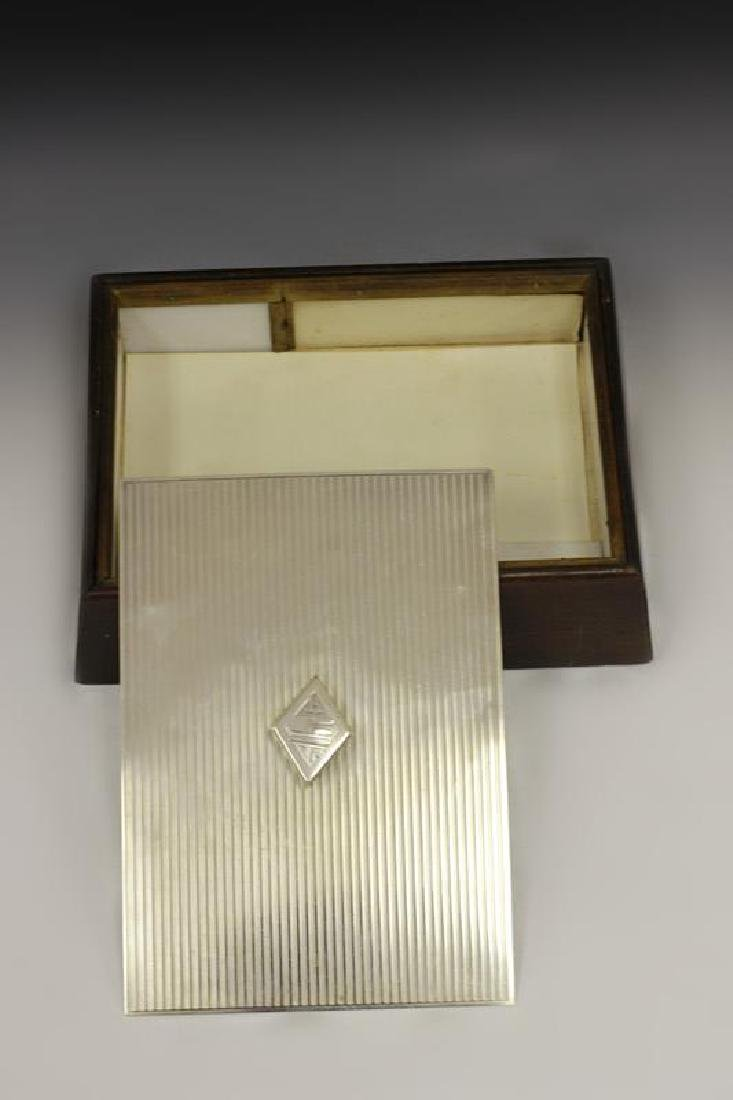 Art Deco Sterling Silver & Wood Humidor - 6