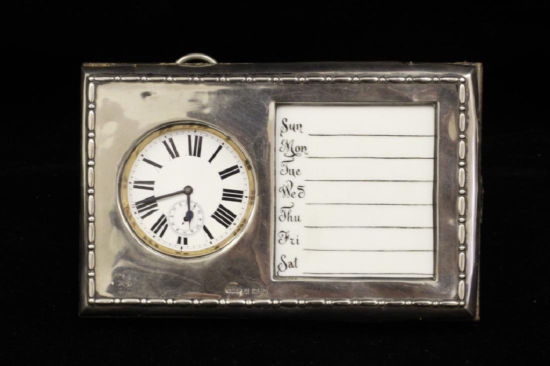 Rare19C English Sterling Silver Calendar & Pocket Watch