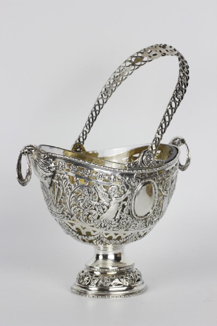 German Sterling Silver Basket W/ Glass Insert - 10