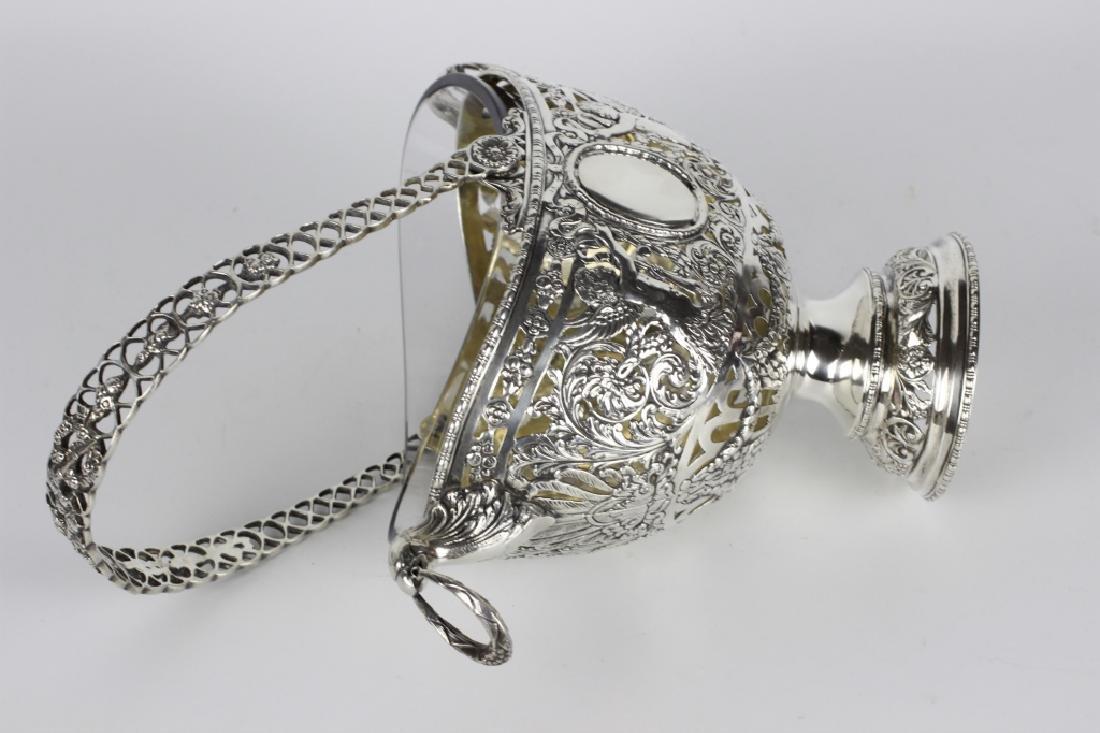German Sterling Silver Basket W/ Glass Insert - 3