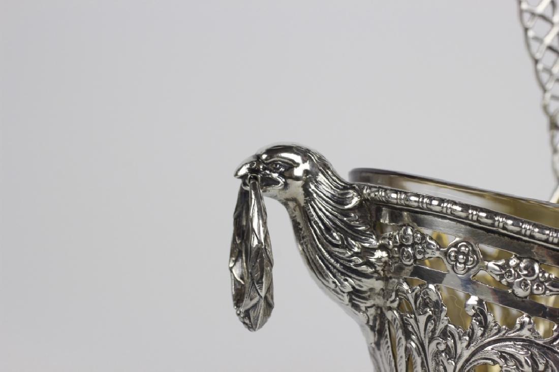 German Sterling Silver Basket W/ Glass Insert - 6