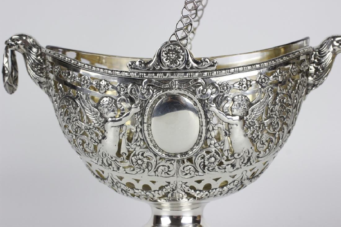 German Sterling Silver Basket W/ Glass Insert - 8