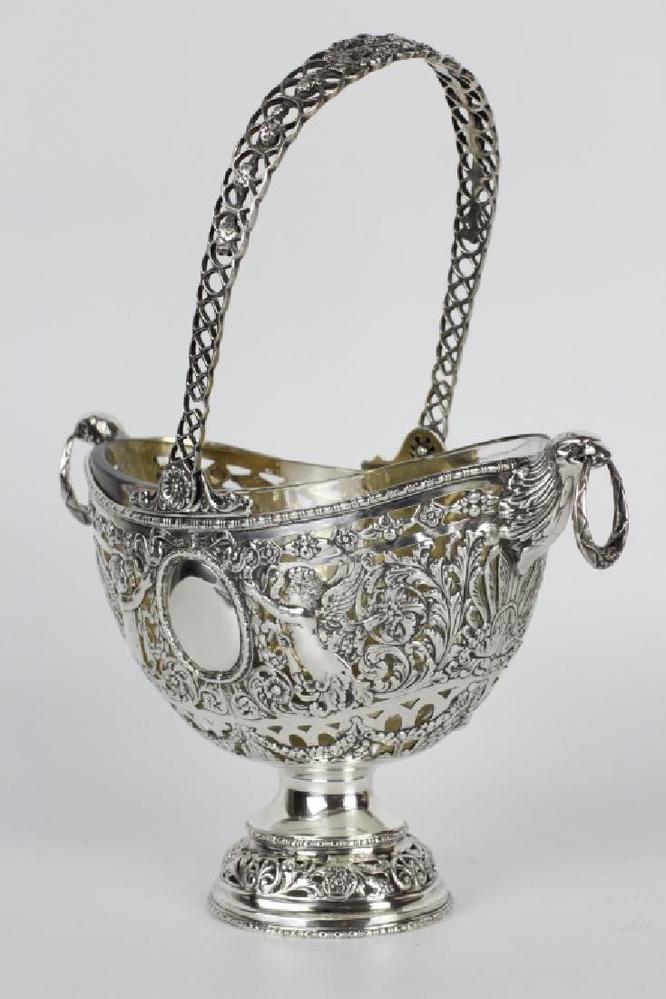 German Sterling Silver Basket W/ Glass Insert - 9