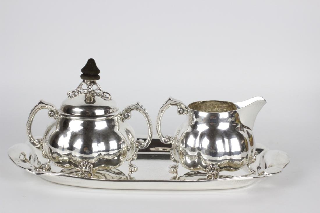 Sterling Silver Danish Creamer, Sugar & Tray