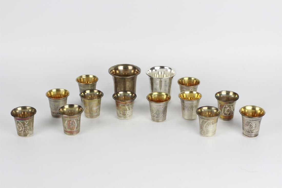 14 Piece Sterling Silver Judaica Kiddush Cups