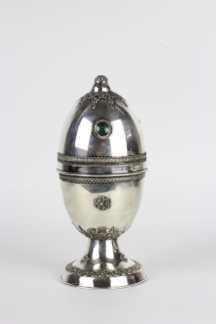 Judaica Sterling Silver Etrog Box W/ Malachite