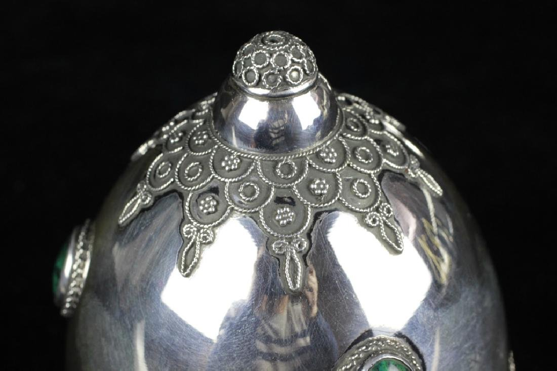 Judaica Sterling Silver Etrog Box W/ Malachite - 8