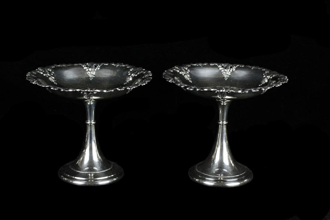 Pair Of Sterling Silver Grand Baroque Compotes