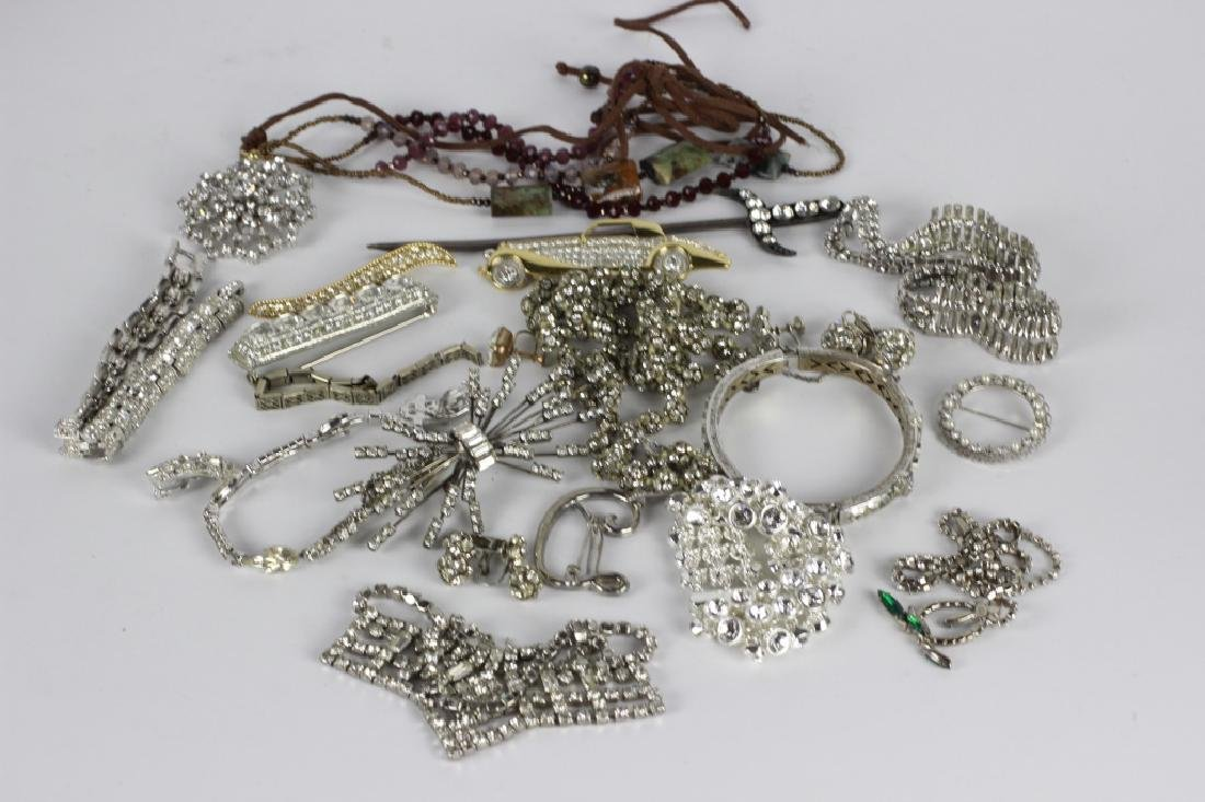 A Large Lot Of Old Rhinestone Jewelry
