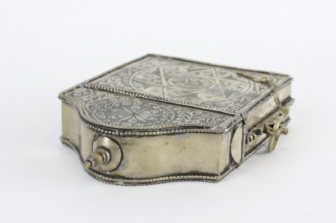 Old Judaica Silvered Box - 8