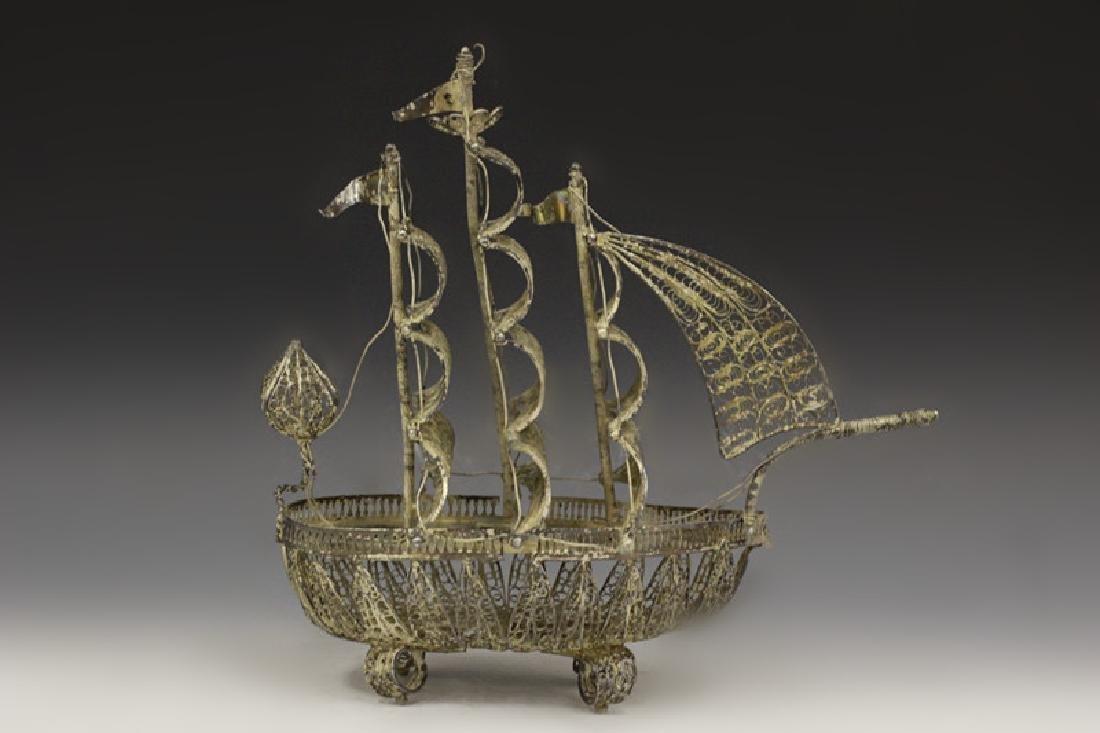 Silver Filigree Boat
