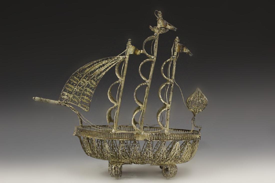 Silver Filigree Boat - 2