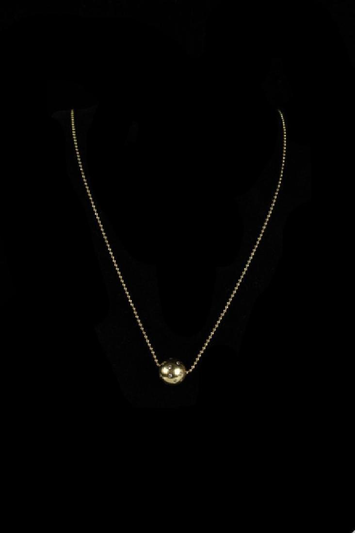 14k Gold Globe Necklace W/ Diamonds