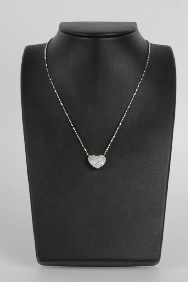 14k Gold Heart Necklace W/ Diamonds