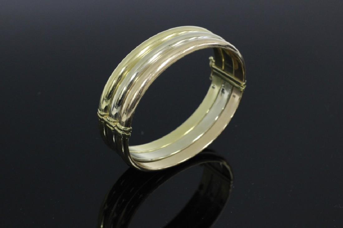 14k Gold Tricolor Bangle Bracelet