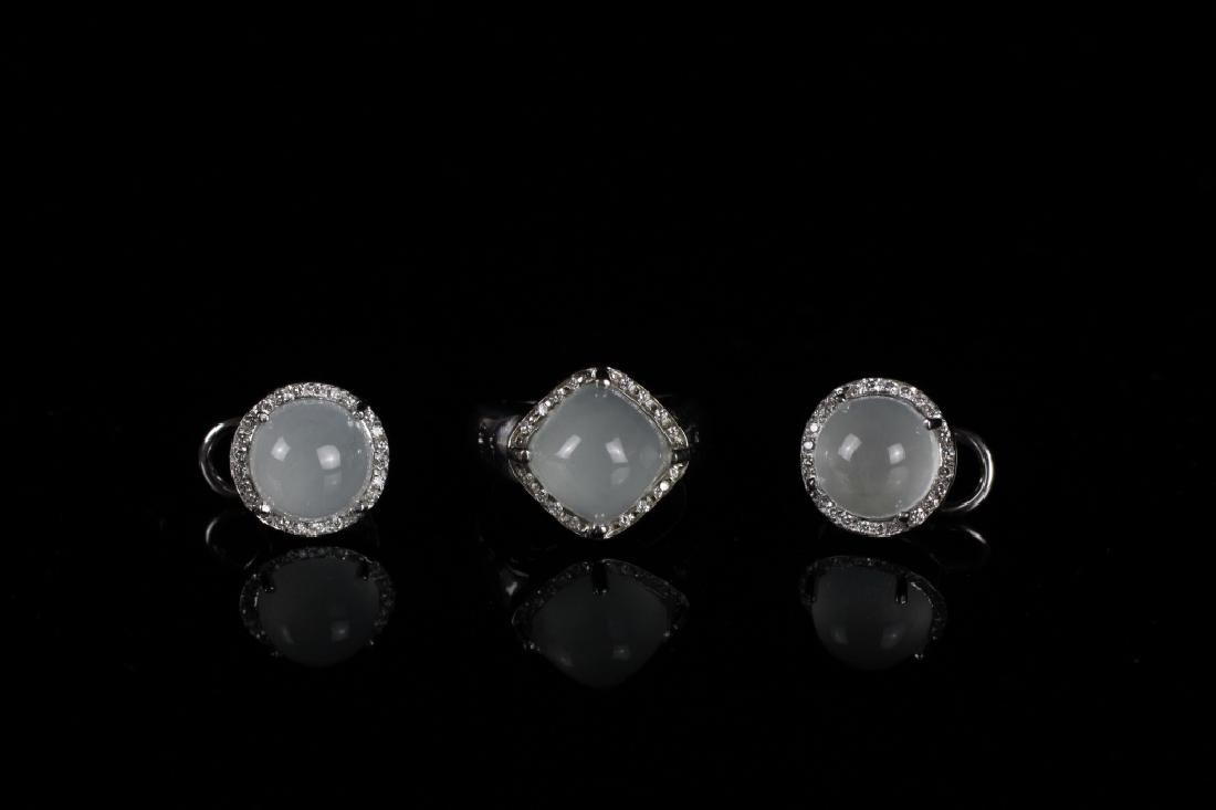 18k White Gold, Diamond Earrings & Ring Set ,Rina Limor