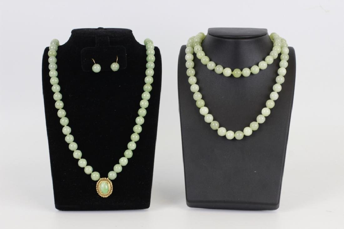 14k Gold Chinese Jadieite Necklace & Earrings Set