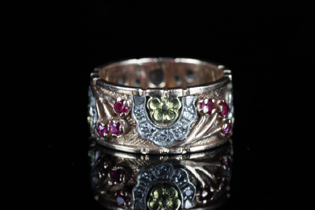 14k Tricolor Gold Retro Ring W/ Diamonds & Rubies