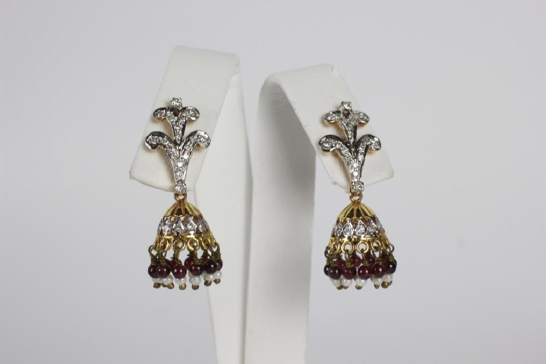 Pair Of 14k Gold & Diamond Chandelier Earrings
