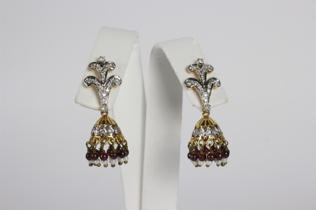 Pair Of 14k Gold & Diamond Chandelier Earrings