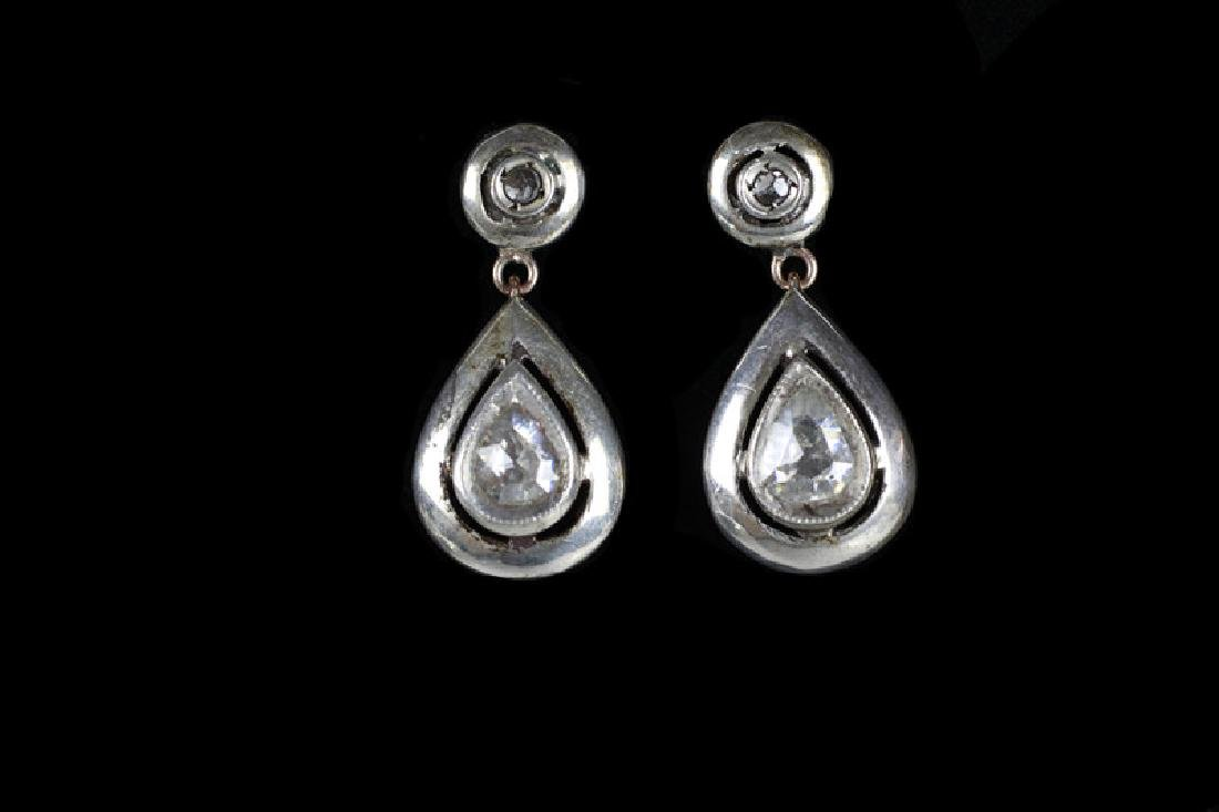 Pair Of Antique Gold, Diamond & Silver Earrings