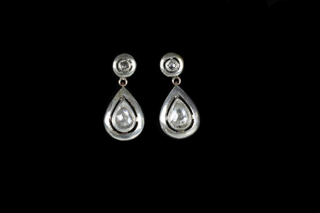 Pair Of Antique Gold, Diamond & Silver Earrings - 2