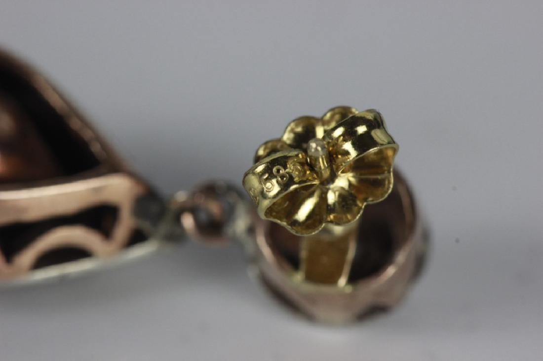 Pair Of Antique Gold, Diamond & Silver Earrings - 3