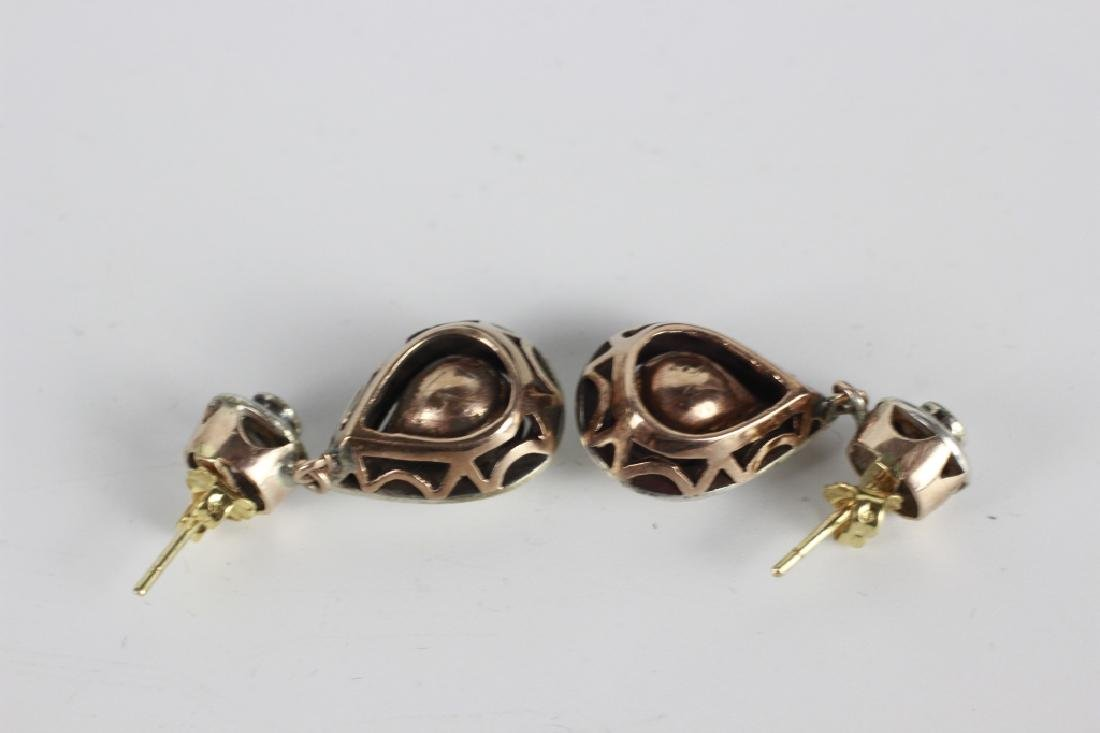 Pair Of Antique Gold, Diamond & Silver Earrings - 4