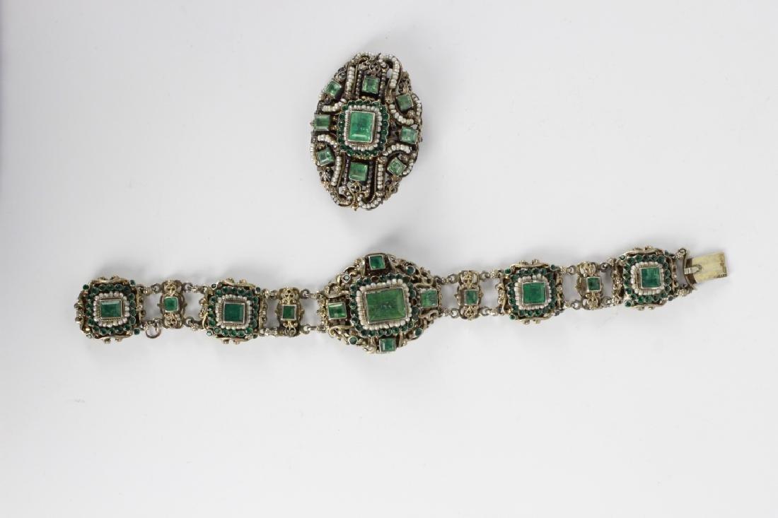 Hungarian Silver Pearl & Emerald Bracelet & Brooch