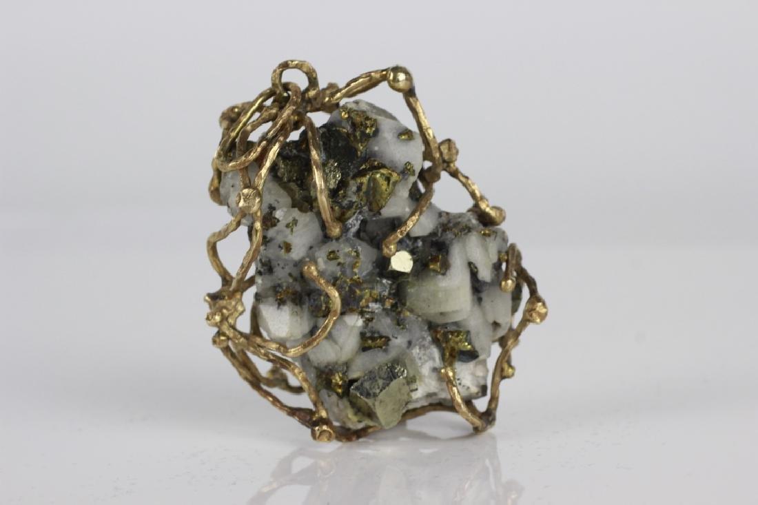 14k Gold Framed Large Stone Pendant