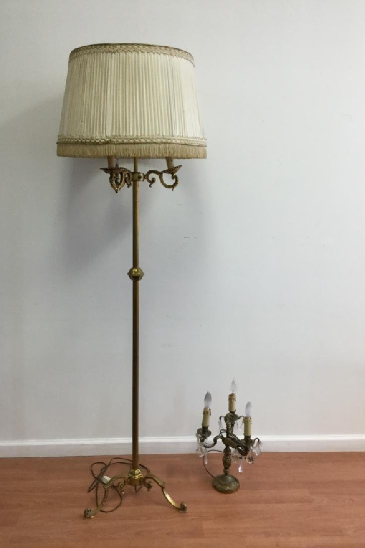 French Bronze Art Deco Style Floor Lamp, & Other