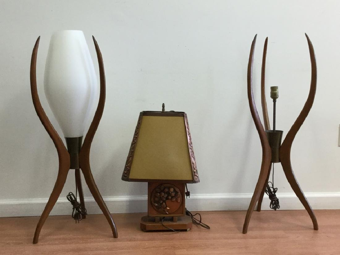 Pair Of Art Modern Lamps. And One Other