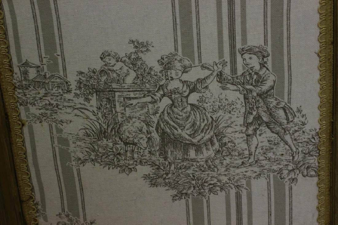 Old French 4 Panel Screen, Silk, Wood & Etchings - 10