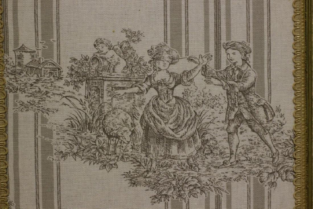 Old French 4 Panel Screen, Silk, Wood & Etchings - 12