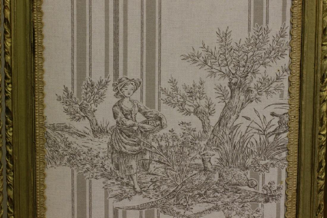 Old French 4 Panel Screen, Silk, Wood & Etchings - 13