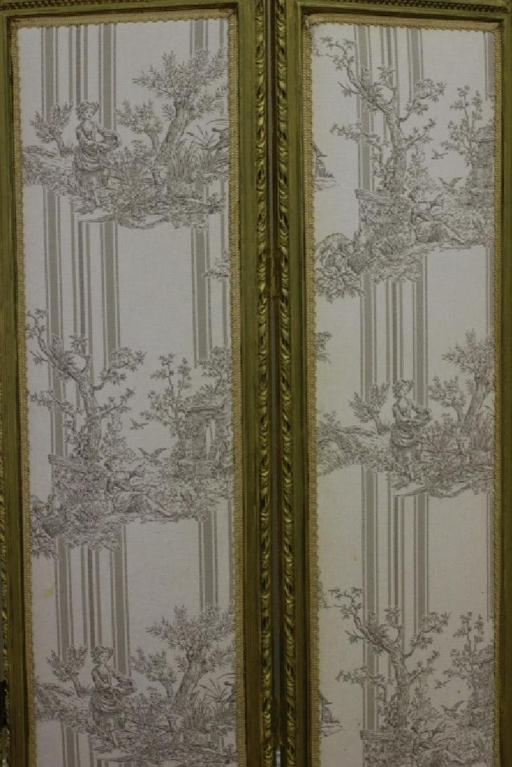 Old French 4 Panel Screen, Silk, Wood & Etchings - 14