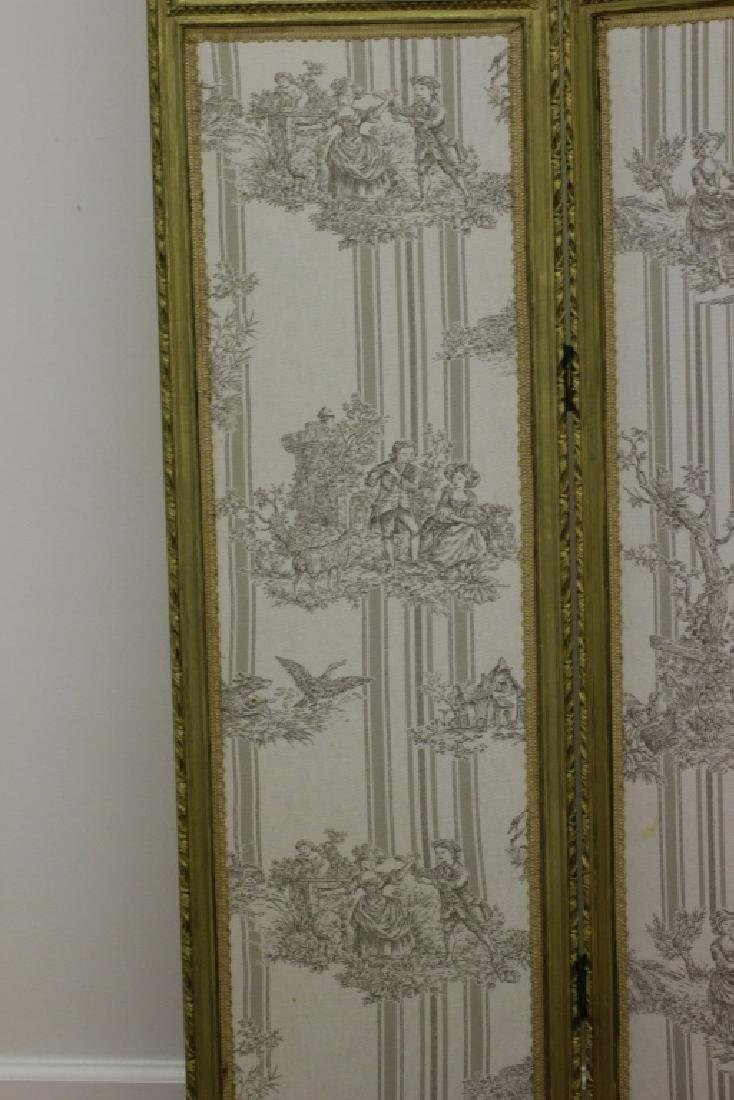 Old French 4 Panel Screen, Silk, Wood & Etchings - 15