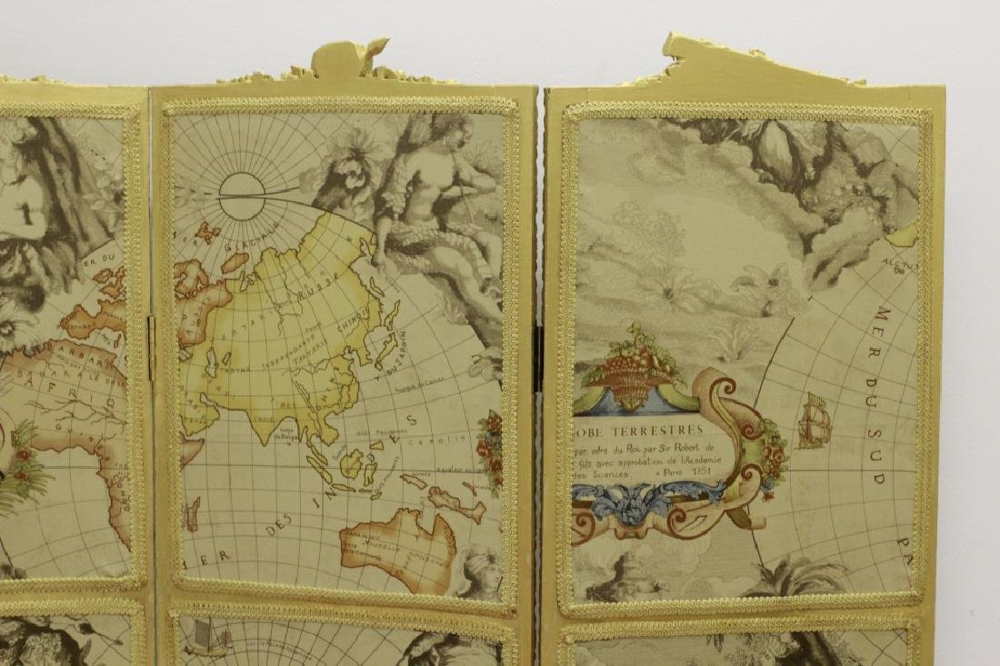 Old French 4 Panel Screen, Silk, Wood & Etchings - 17