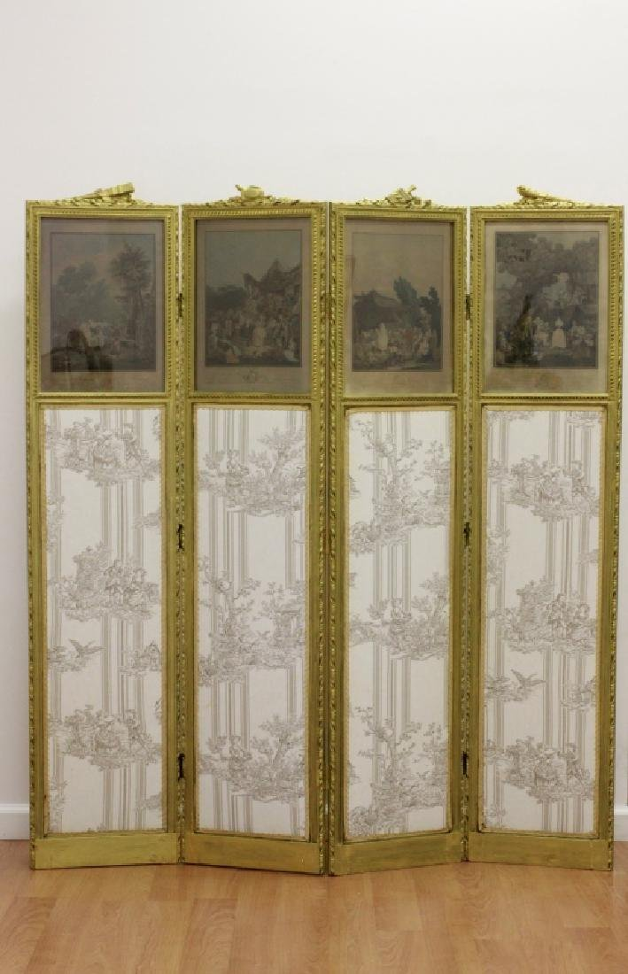 Old French 4 Panel Screen, Silk, Wood & Etchings