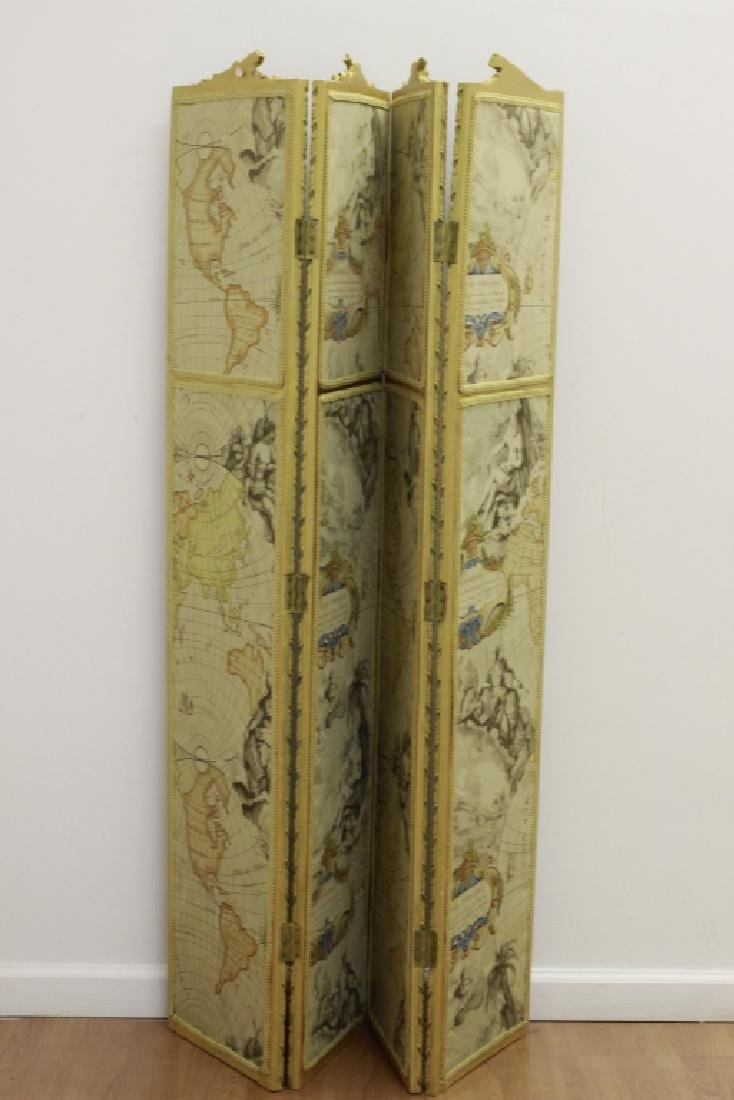 Old French 4 Panel Screen, Silk, Wood & Etchings - 2